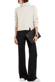 DKNY Satin-trimmed stretch-wool wide-leg pants