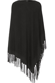 Asymmetric fringed knitted poncho