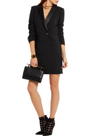 DKNY Satin-trimmed stretch-wool crepe mini dress