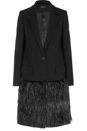 DKNY Feather-embellished wool-twill coat