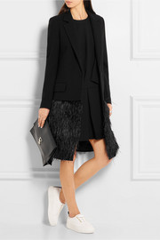 Feather-embellished wool-twill coat