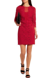 DKNY Silk organza-paneled guipure lace dress