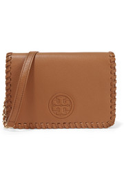 Tory Burch Marion whipstitched textured-leather shoulder bag