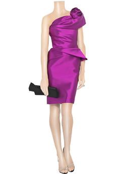 MarchesaAsymmetric silk and wool-blend dress