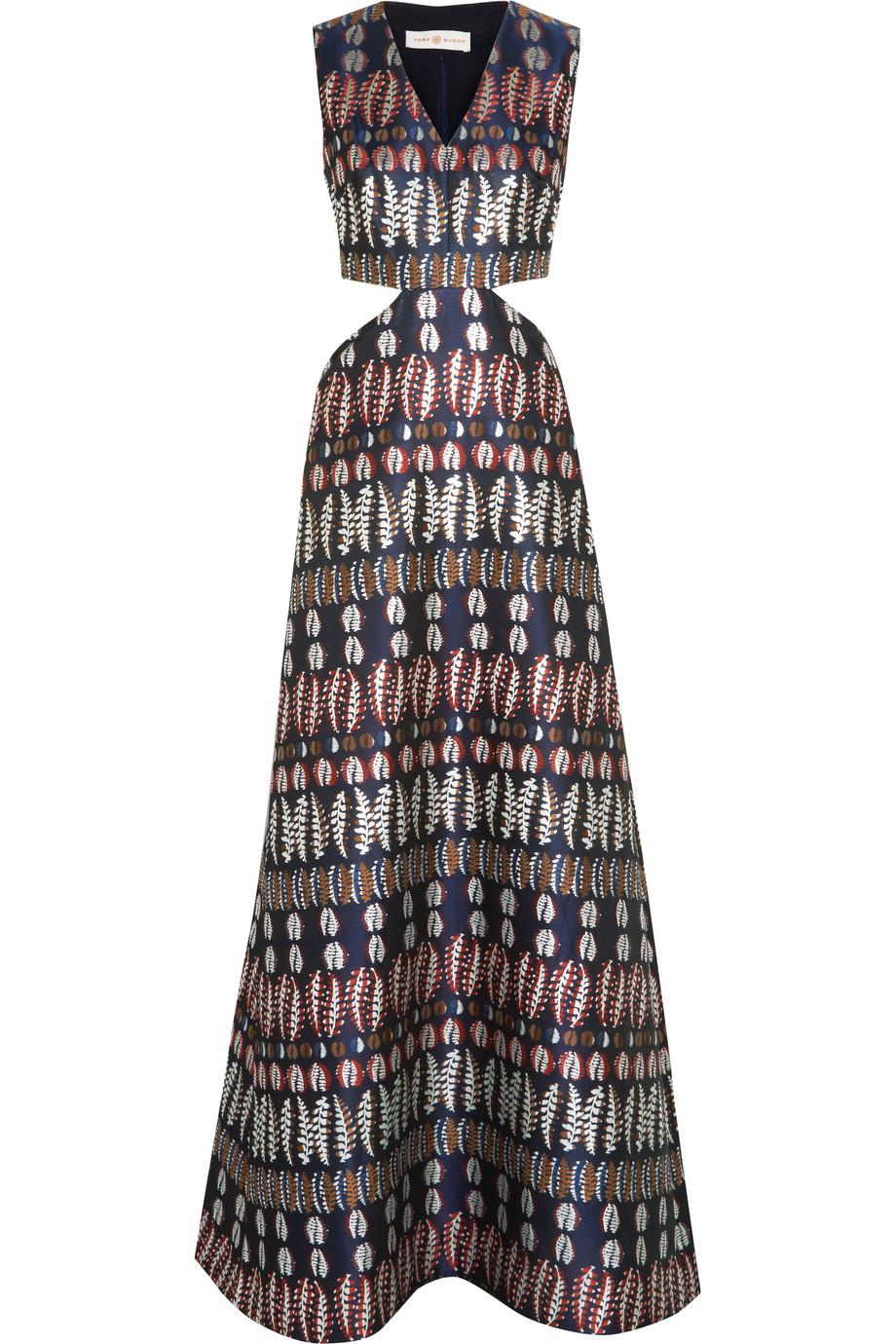 Tory Burch Cutout Jacquard Gown, Storm Blue, Women's - Jacquard, Size: 12