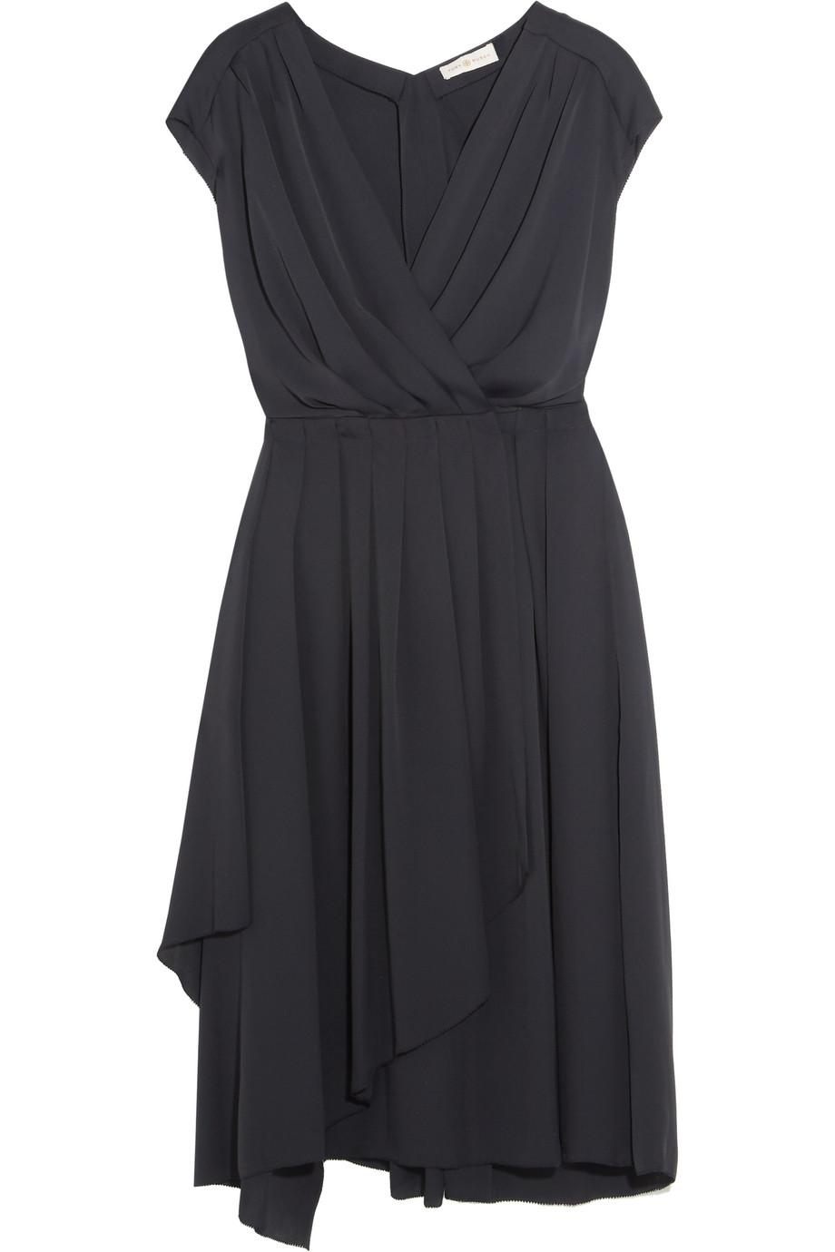 Tory Burch Wrap-Effect Pleated Crepe De Chine Dress, Midnight Blue, Women's, Size: 6