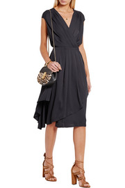 Wrap-effect pleated crepe de chine dress