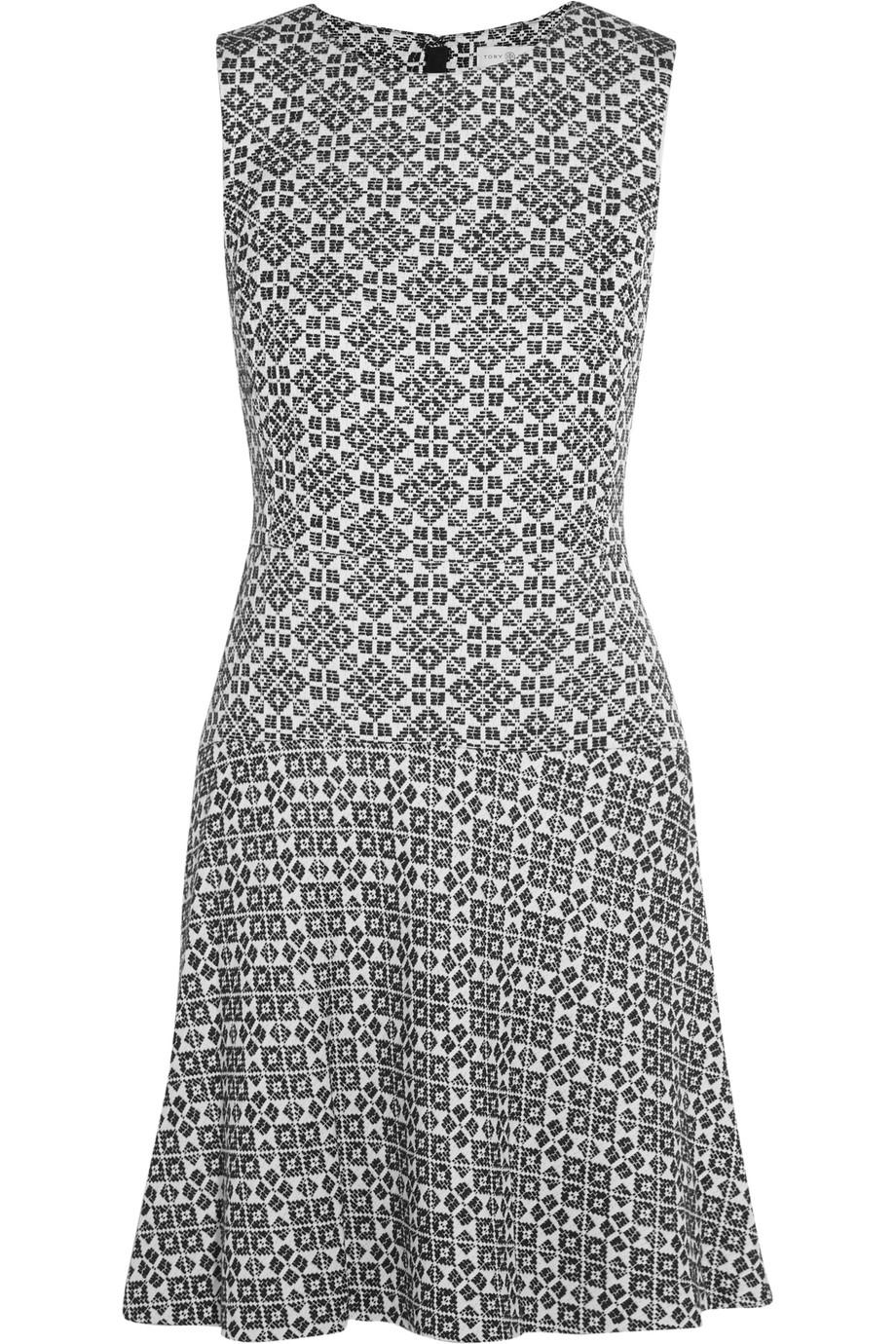 Tory Burch Cotton-Blend Jacquard Mini Dress, Midnight Blue, Women's - Jacquard, Size: 6