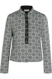 Embellished cotton-blend jacquard jacket
