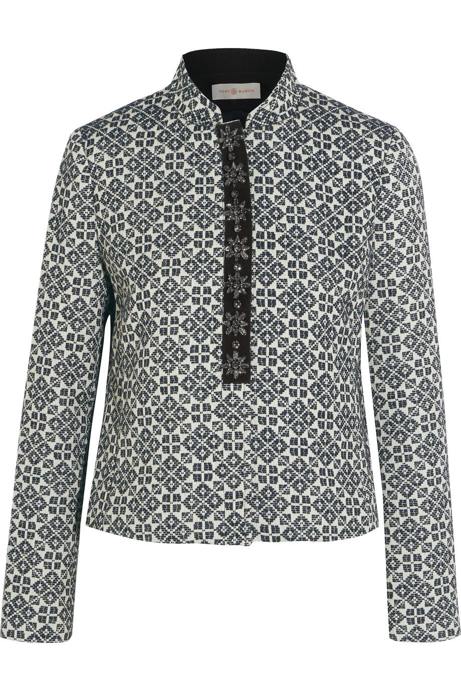 Tory Burch Embellished Cotton-Blend Jacquard Jacket, Midnight Blue, Women's, Size: 14