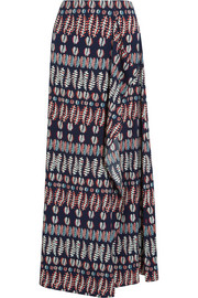 Printed stretch-silk satin maxi skirt