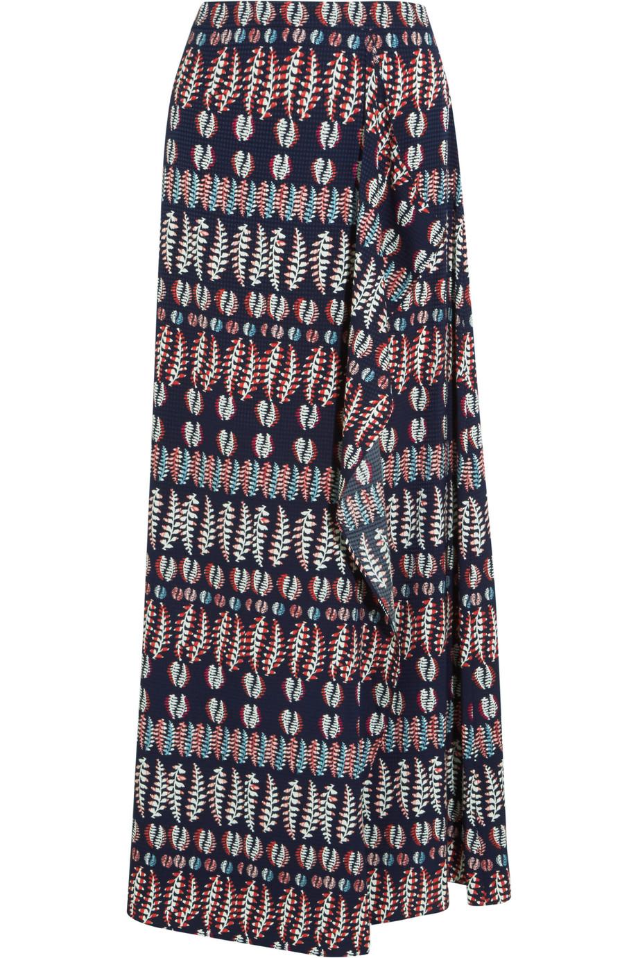 Tory Burch Printed Stretch-Silk Satin Maxi Skirt, Navy, Women's, Size: 2