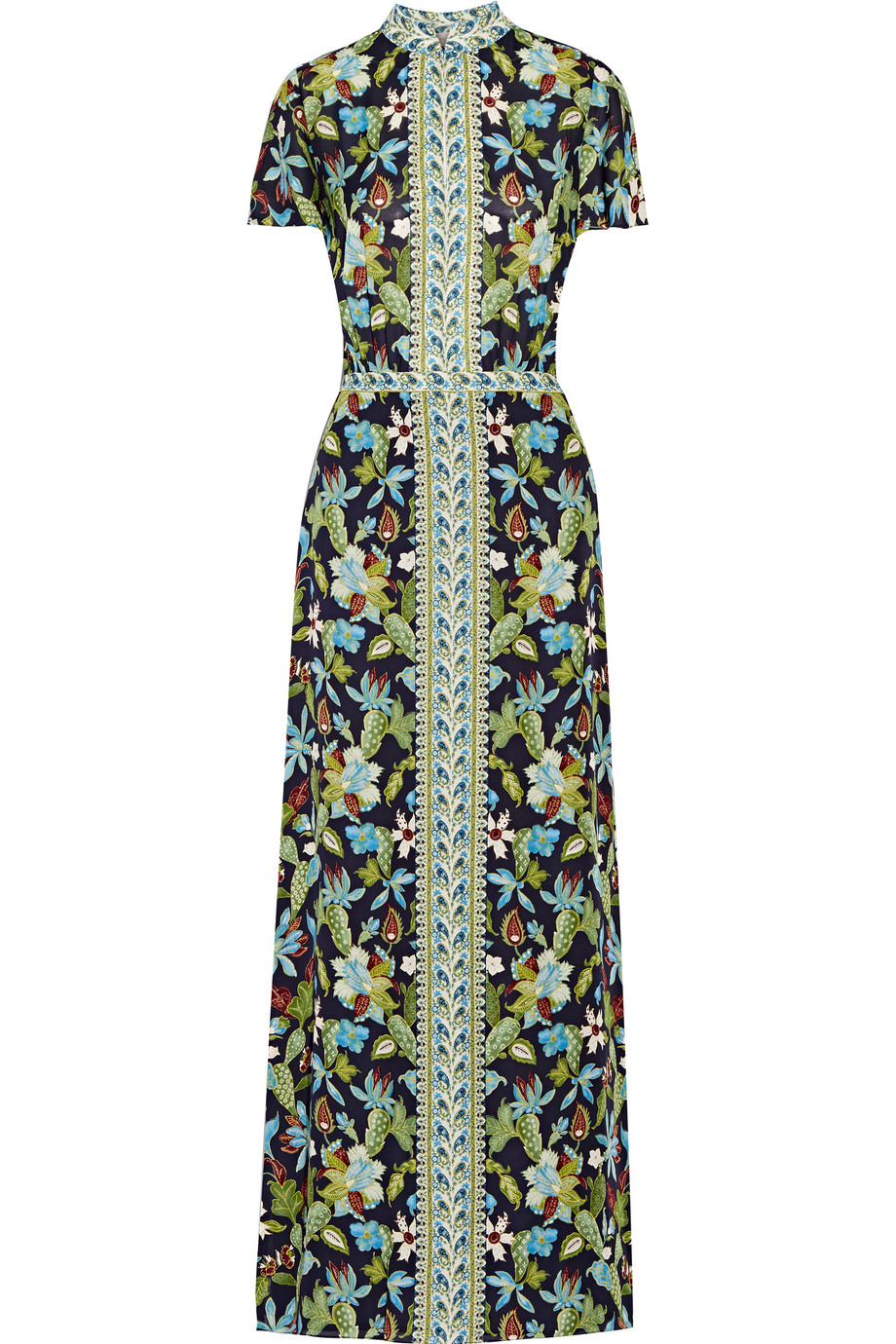 Tory Burch Printed Silk-Chiffon Maxi Dress, Midnight Blue/Leaf Green, Women's - Printed, Size: 6
