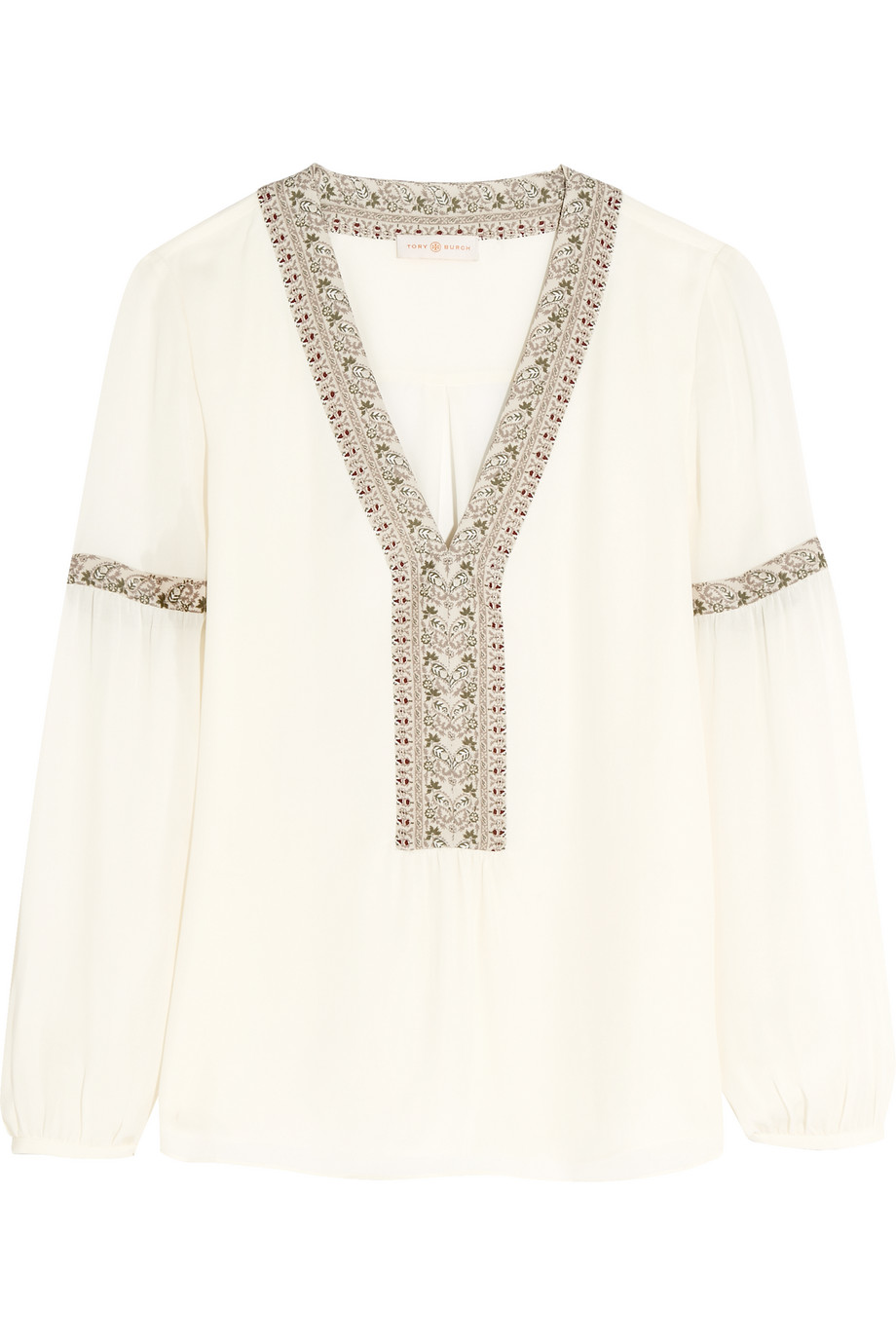 Tory Burch Paisley-Trimmed Silk Blouse, Ivory, Women's, Size: 8