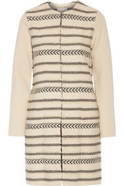 Tory Burch Paneled wool-blend jacquard-knit coat