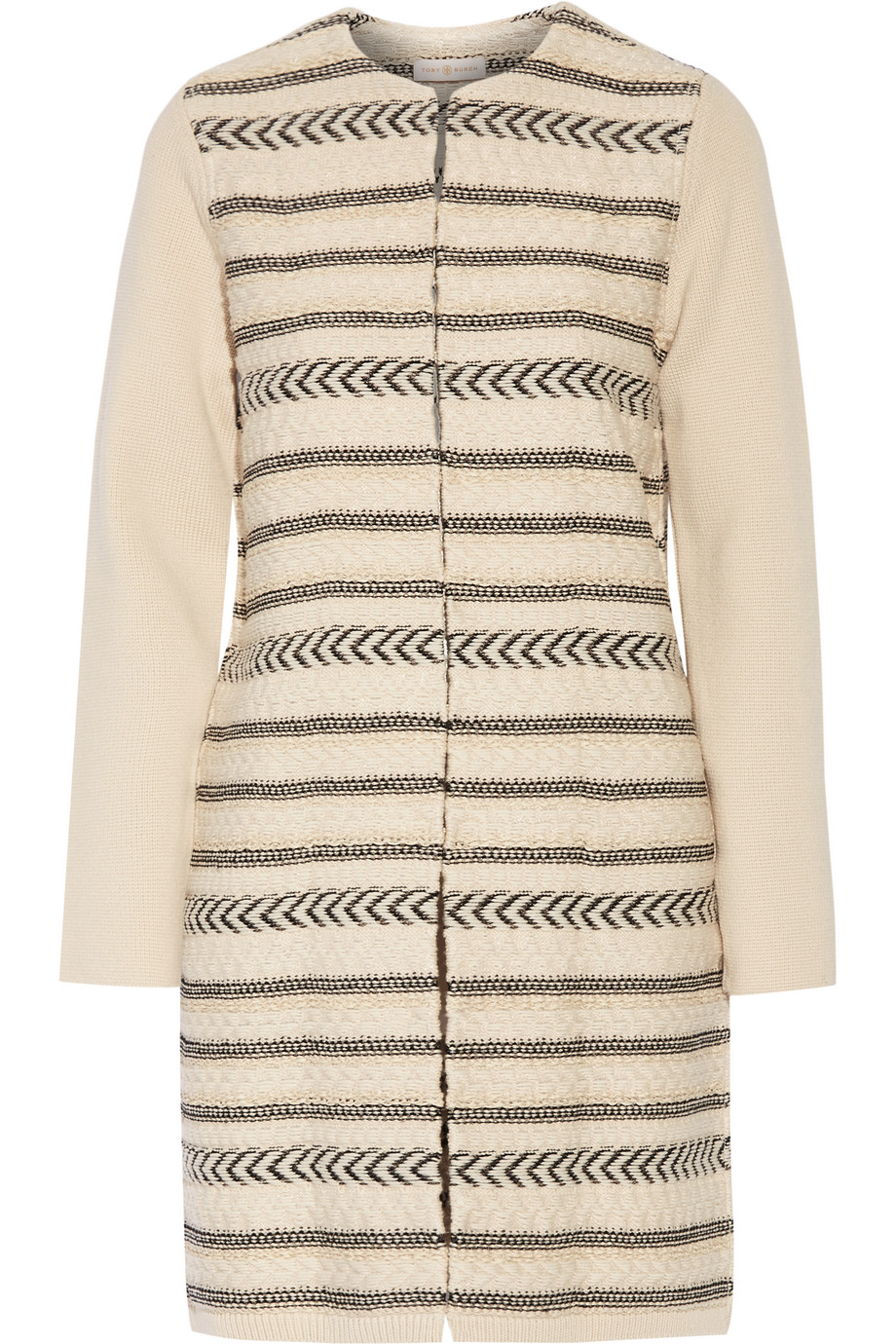 Tory Burch Paneled Wool-Blend Jacquard-Knit Coat, Beige, Women's, Size: M