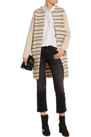 Paneled wool-blend jacquard-knit coat