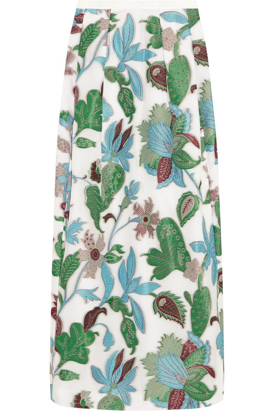 Tory Burch Embroidered Organza Maxi Skirt, Blue/Green, Women's, Size: 8