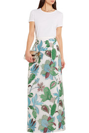 Embroidered organza maxi skirt