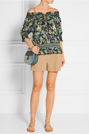 Floral-print cotton-poplin top