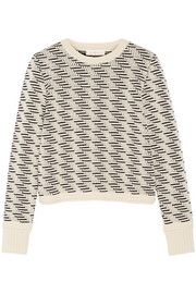 Wool-blend jacquard-knit sweater