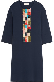 Tory Burch Milano embroidered jersey mini dress