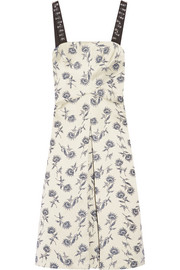 Tory Burch Grosgrain-trimmed linen-blend floral-jacquard dress