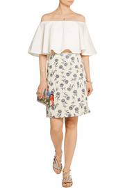 Wrap-effect linen-blend floral-jacquard skirt