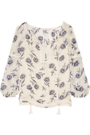 Tory Burch Guipure lace-trimmed printed silk-georgette blouse