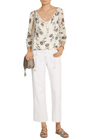 Guipure lace-trimmed printed silk-georgette blouse