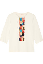Tory Burch Milano raffia-paneled ribbed-knit tunic