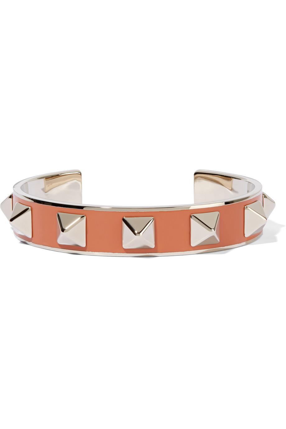 Valentino The Rockstud Pale Gold-Tone Enameled Cuff, Orange, Women's