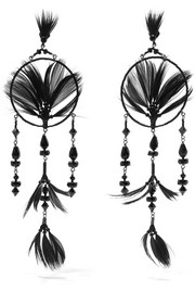 Ruthenium-tone, crystal, bead and feather earrings