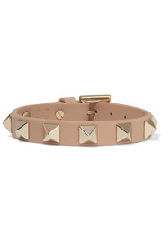 The Rockstud textured-leather and gold-tone bracelet