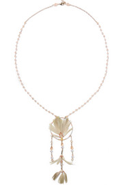 Gold-tone feather, crystal and bead necklace