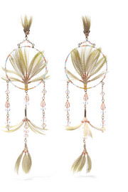 Gold-tone, crystal, bead and feather earrings