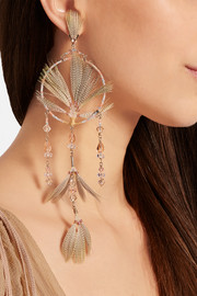 Valentino Gold-tone, crystal, bead and feather earrings