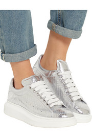 Metallic snake and leather exaggerated-sole sneakers