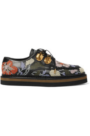Alexander McQueen Embroidered leather platform brogues