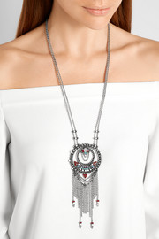 Camryn oxidized silver-plated Swarovski crystal necklace