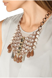 Searle rose gold-plated, bead and suede bib necklace
