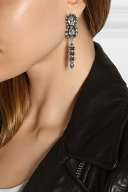Anzo oxidized silver-plated Swarovski crystal earrings