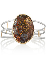 14-karat gold, sterling silver and boulder opal cuff