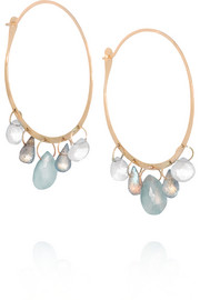 14-karat gold multi-stone hoop earrings