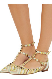 Valentino Rockstud embellished printed leather flats