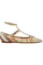 Rockstud embellished printed leather flats
