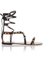 Rockstud lace-up leather sandals