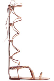 Rockstud leather lace-up sandals