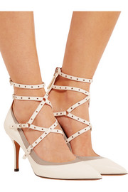 Valentino Love Latch eyelet-embellished leather pumps