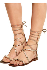 Valentino Rockstud metallic textured-leather lace-up sandals